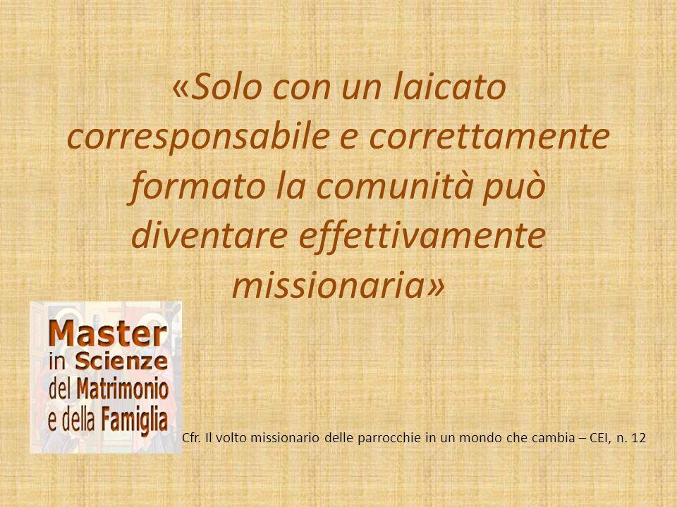 «Solo con un laicato corresponsabile e correttamente formato la comunità può diventare effettivamente missionaria» Cfr. Il volto missionario delle par