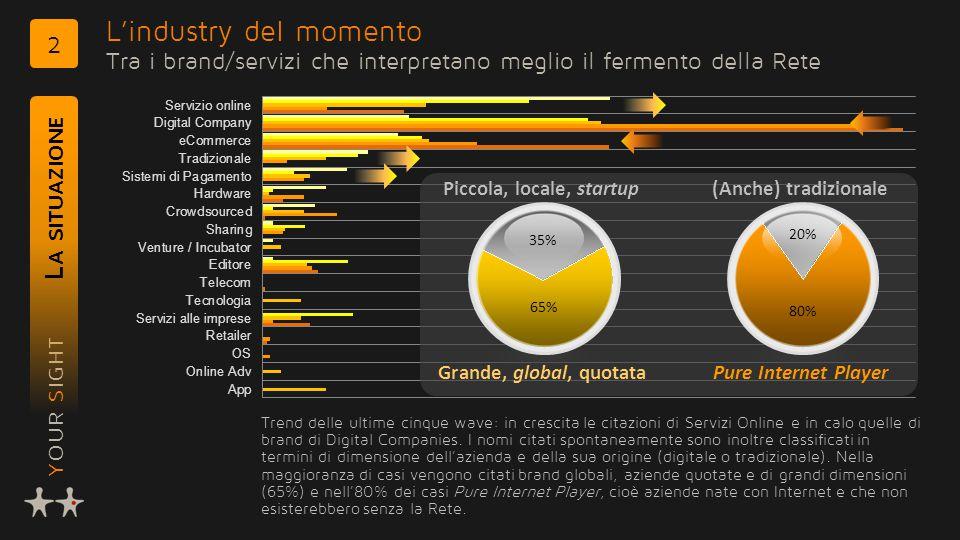 YOUR SIGHT L'industry del momento Tra i brand/servizi che interpretano meglio il fermento della Rete L A SITUAZIONE 2 35% 65% Grande, global, quotata