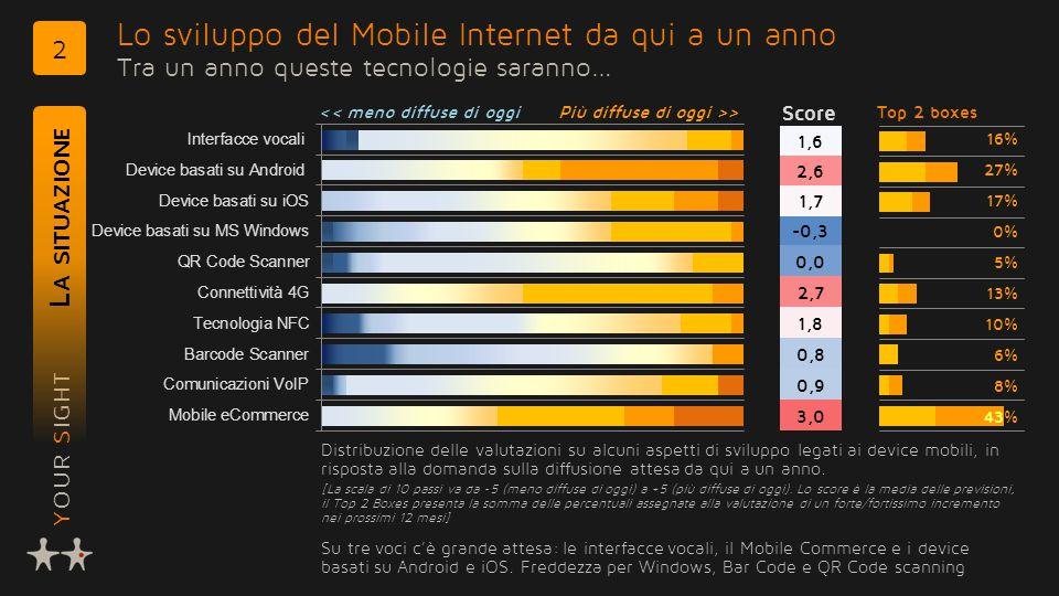 YOUR SIGHT Lo sviluppo del Mobile Internet da qui a un anno Tra un anno queste tecnologie saranno… L A SITUAZIONE 2 Distribuzione delle valutazioni su