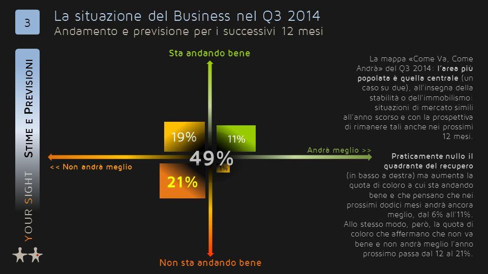 YOUR SIGHT 19% 1% La situazione del Business nel Q3 2014 Andamento e previsione per i successivi 12 mesi S TIME E P REVISIONI 3 << Non andrà meglio An
