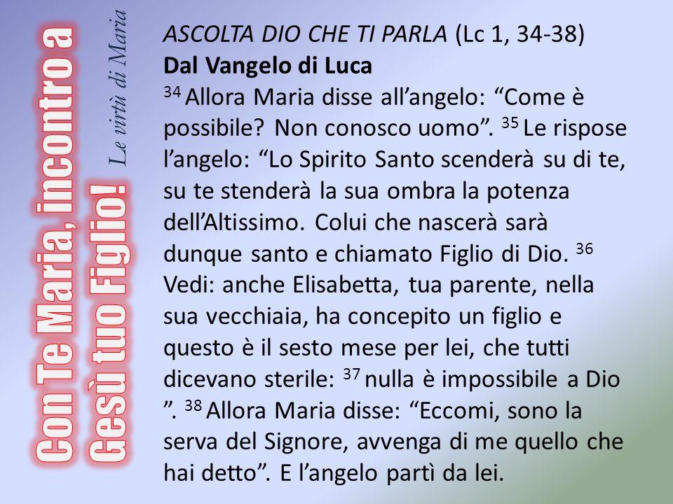 ASCOLTA DIO CHE TI PARLA (Lc 1, 34-38) Dal Vangelo di Luca 34 Allora Maria disse all'angelo: Come è possibile.