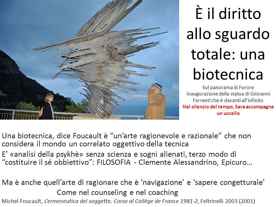 È il diritto allo sguardo totale: una biotecnica Sul panorama di Furore inaugurazione della statua di Giovanni Ferrenti che è davanti all'infinito Nel