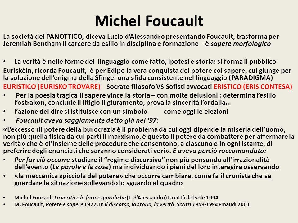 Michel Foucault La società del PANOTTICO, diceva Lucio d'Alessandro presentando Foucault, trasforma per Jeremiah Bentham il carcere da esilio in disci