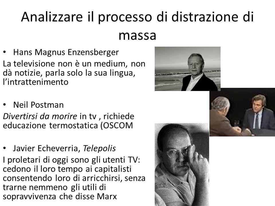 Analizzare il processo di distrazione di massa Hans Magnus Enzensberger La televisione non è un medium, non dà notizie, parla solo la sua lingua, l'in