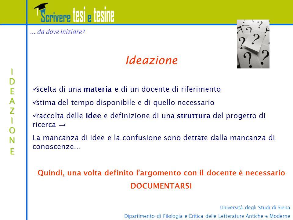 Università degli Studi di Siena Dipartimento di Filologia e Critica delle Letterature Antiche e Moderne... da dove iniziare? IDEAZIONEIDEAZIONEIDEAZIO