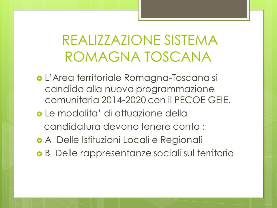 REALIZZAZIONE SISTEMA ROMAGNA TOSCANA  L'Area territoriale Romagna-Toscana si candida alla nuova programmazione comunitaria 2014-2020 con il PECOE GE