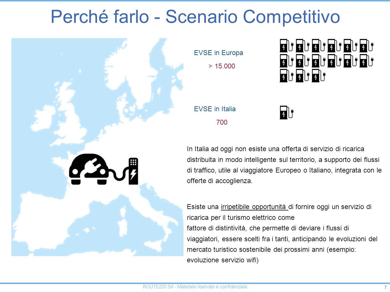 7 ROUTE220 Srl - Materiale riservato e confidenziale > 15.000 EVSE in Europa In Italia ad oggi non esiste una offerta di servizio di ricarica distribuita in modo intelligente sul territorio, a supporto dei flussi di traffico, utile al viaggiatore Europeo o Italiano, integrata con le offerte di accoglienza.