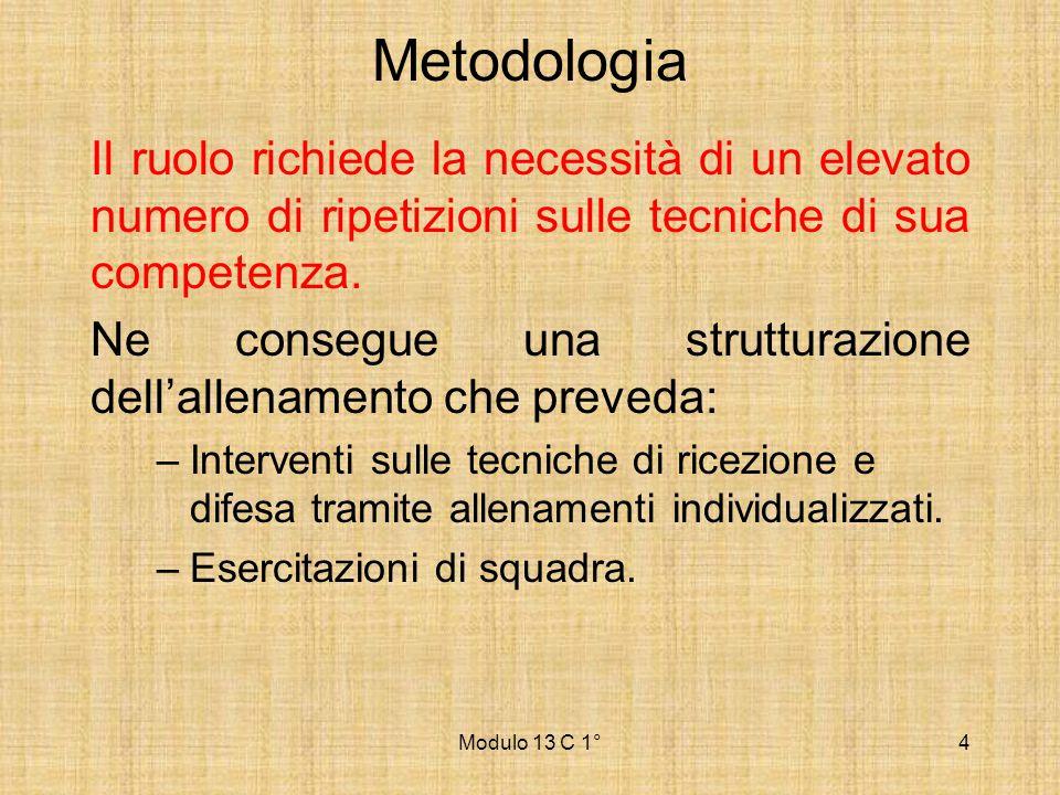 Modulo 13 C 1°4 Metodologia Il ruolo richiede la necessità di un elevato numero di ripetizioni sulle tecniche di sua competenza. Ne consegue una strut