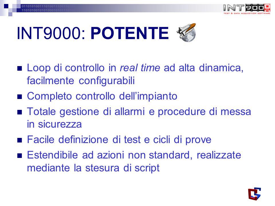 INT9000: POTENTE Loop di controllo in real time ad alta dinamica, facilmente configurabili Completo controllo dell'impianto Totale gestione di allarmi e procedure di messa in sicurezza Facile definizione di test e cicli di prove Estendibile ad azioni non standard, realizzate mediante la stesura di script