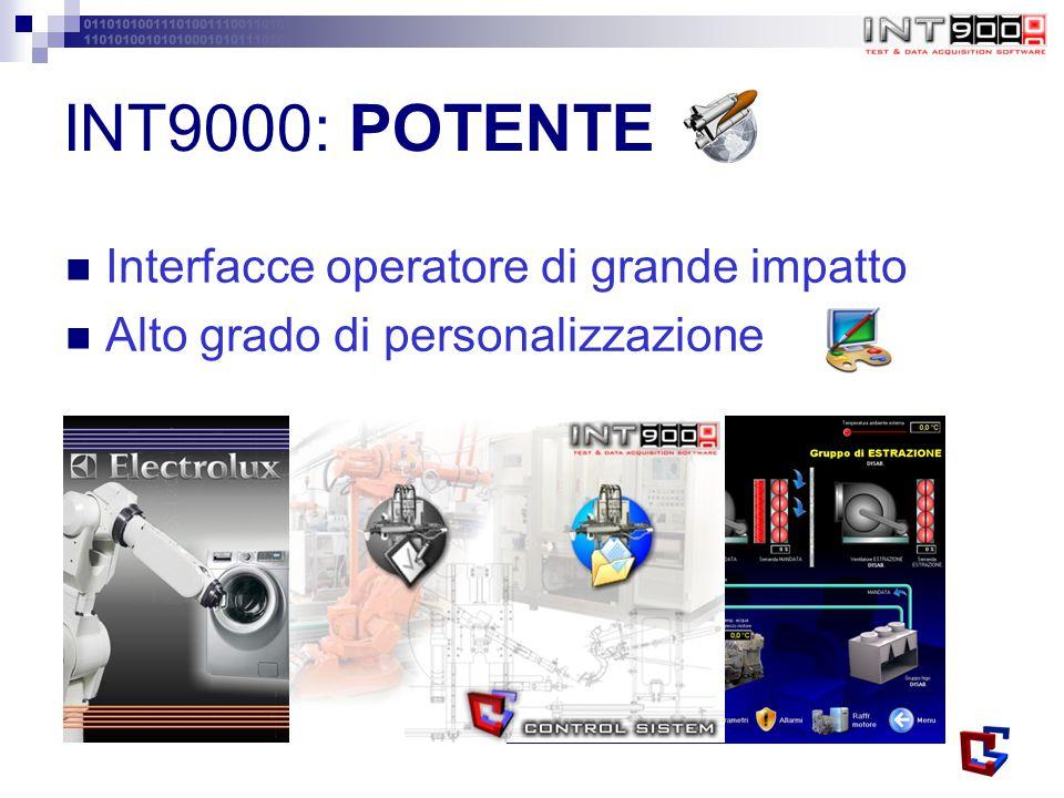 INT9000: POTENTE Interfacce operatore di grande impatto Alto grado di personalizzazione