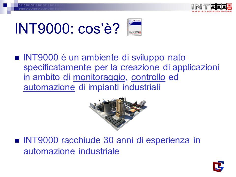 INT9000 è un ambiente di sviluppo nato specificatamente per la creazione di applicazioni in ambito di monitoraggio, controllo ed automazione di impianti industriali INT9000: cos'è.