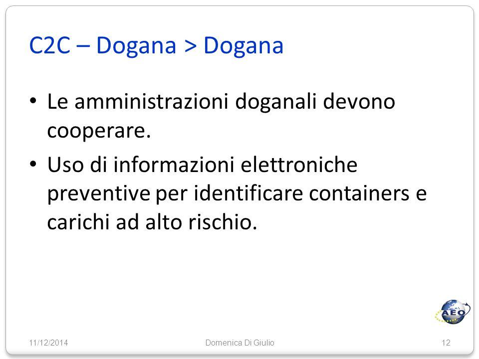 C2C – Dogana > Dogana Le amministrazioni doganali devono cooperare. Uso di informazioni elettroniche preventive per identificare containers e carichi