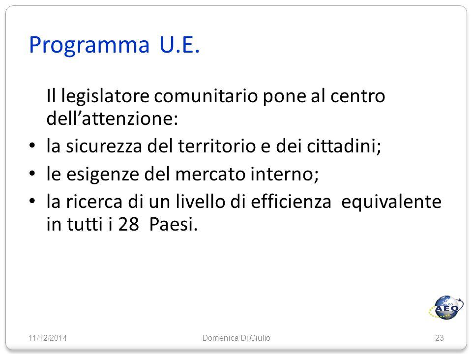 Programma U.E. Il legislatore comunitario pone al centro dell'attenzione: la sicurezza del territorio e dei cittadini; le esigenze del mercato interno