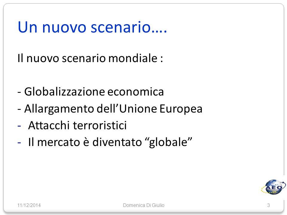 Un nuovo scenario…. 11/12/20143 Il nuovo scenario mondiale : - Globalizzazione economica - Allargamento dell'Unione Europea -Attacchi terroristici -Il
