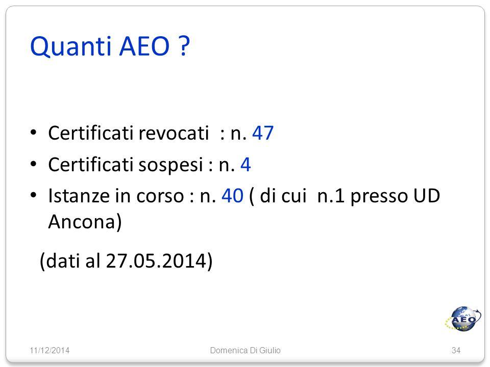 Quanti AEO ? Certificati revocati : n. 47 Certificati sospesi : n. 4 Istanze in corso : n. 40 ( di cui n.1 presso UD Ancona) (dati al 27.05.2014) 11/1