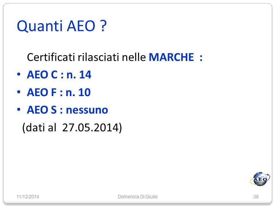 Quanti AEO ? Certificati rilasciati nelle MARCHE : AEO C : n. 14 AEO F : n. 10 AEO S : nessuno (dati al 27.05.2014) 11/12/201436Domenica Di Giulio