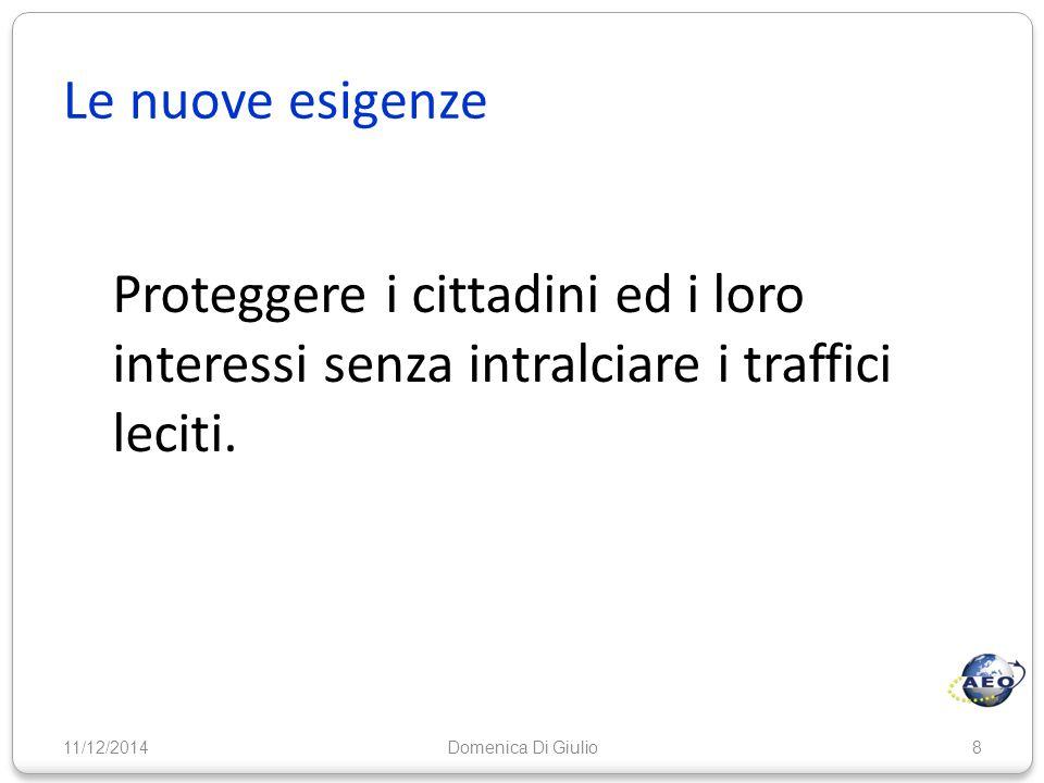Le nuove esigenze Proteggere i cittadini ed i loro interessi senza intralciare i traffici leciti. 11/12/20148Domenica Di Giulio