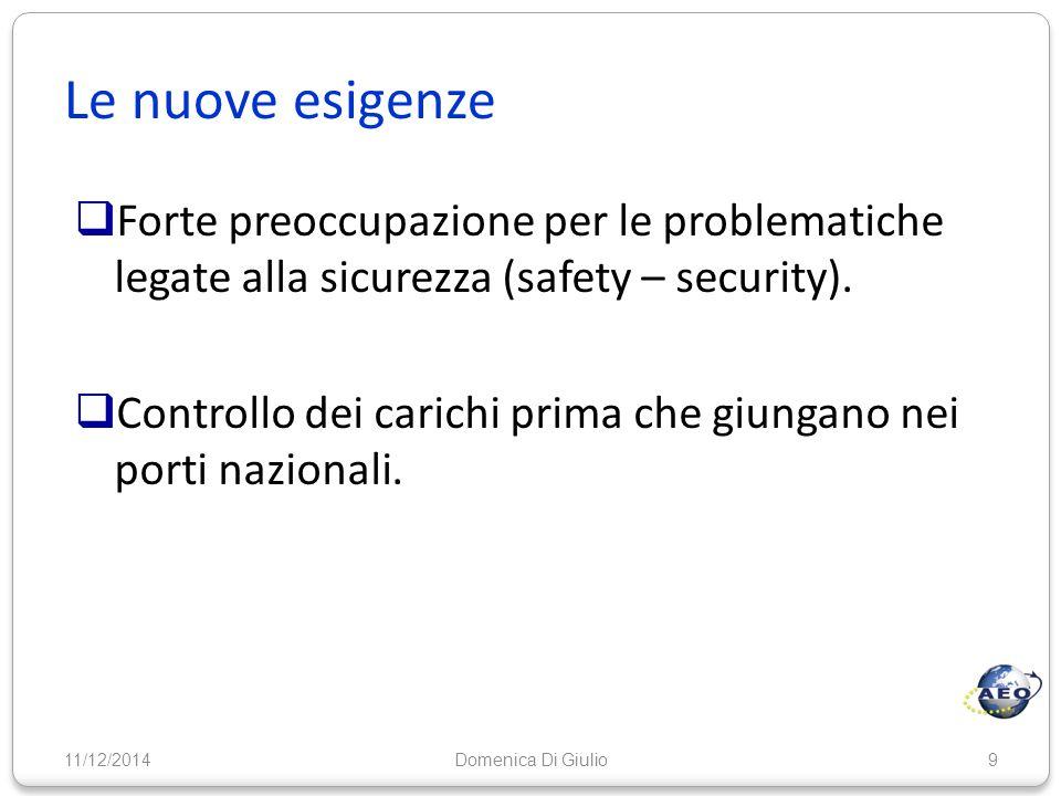 Le nuove esigenze  Forte preoccupazione per le problematiche legate alla sicurezza (safety – security).  Controllo dei carichi prima che giungano ne