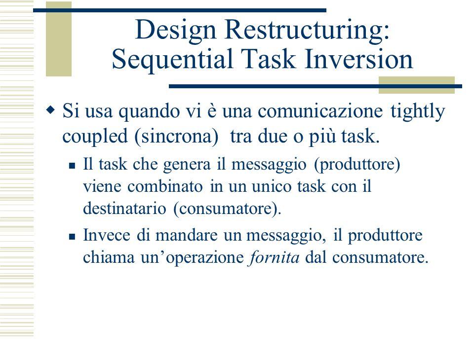 Design Restructuring: Sequential Task Inversion  Si usa quando vi è una comunicazione tightly coupled (sincrona) tra due o più task.