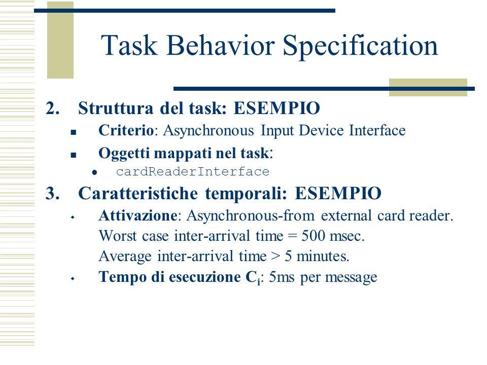 Task Behavior Specification 2.Struttura del task: ESEMPIO Criterio: Asynchronous Input Device Interface Oggetti mappati nel task : cardReaderInterface 3.Caratteristiche temporali: ESEMPIO  Attivazione: Asynchronous-from external card reader.