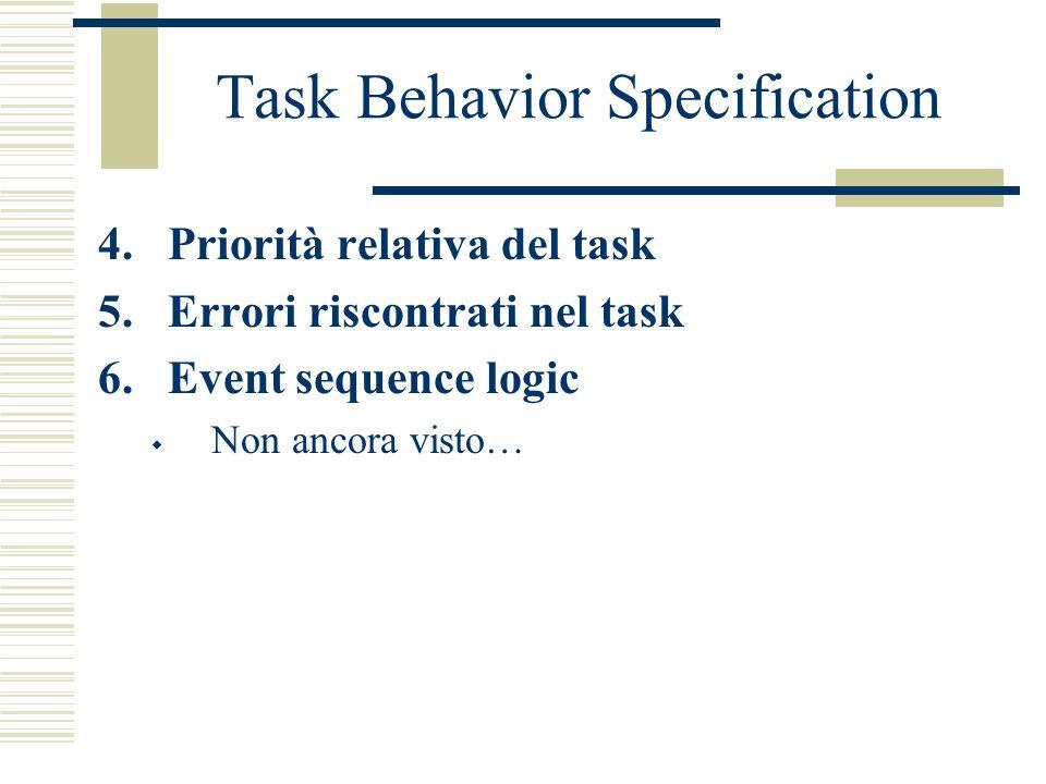 Task Behavior Specification 4.Priorità relativa del task 5.Errori riscontrati nel task 6.Event sequence logic  Non ancora visto…