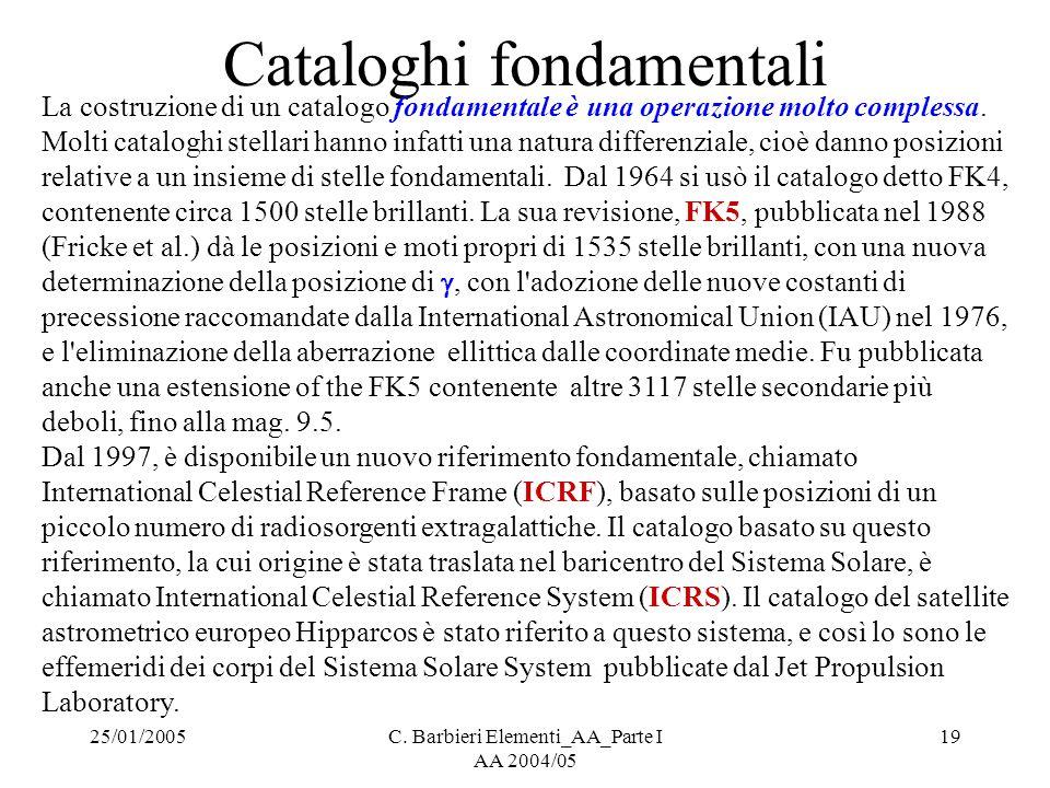 25/01/2005C. Barbieri Elementi_AA_Parte I AA 2004/05 19 Cataloghi fondamentali La costruzione di un catalogo fondamentale è una operazione molto compl