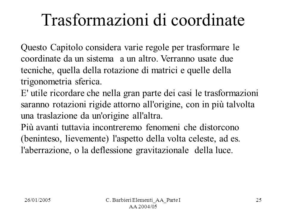 26/01/2005C. Barbieri Elementi_AA_Parte I AA 2004/05 25 Trasformazioni di coordinate Questo Capitolo considera varie regole per trasformare le coordin