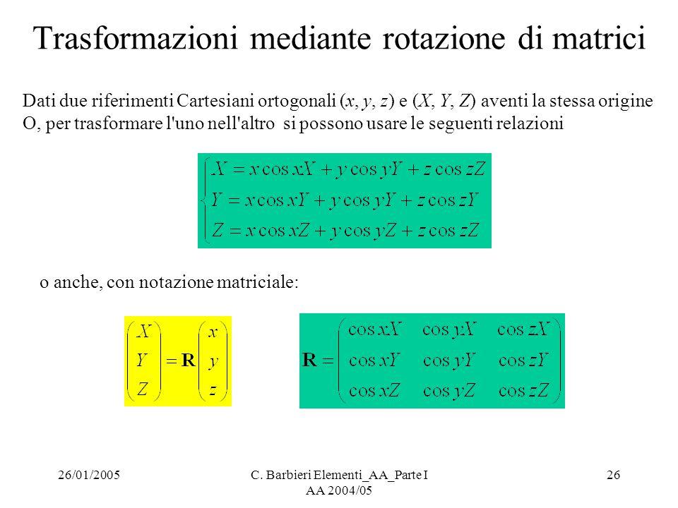 26/01/2005C. Barbieri Elementi_AA_Parte I AA 2004/05 26 Trasformazioni mediante rotazione di matrici Dati due riferimenti Cartesiani ortogonali (x, y,