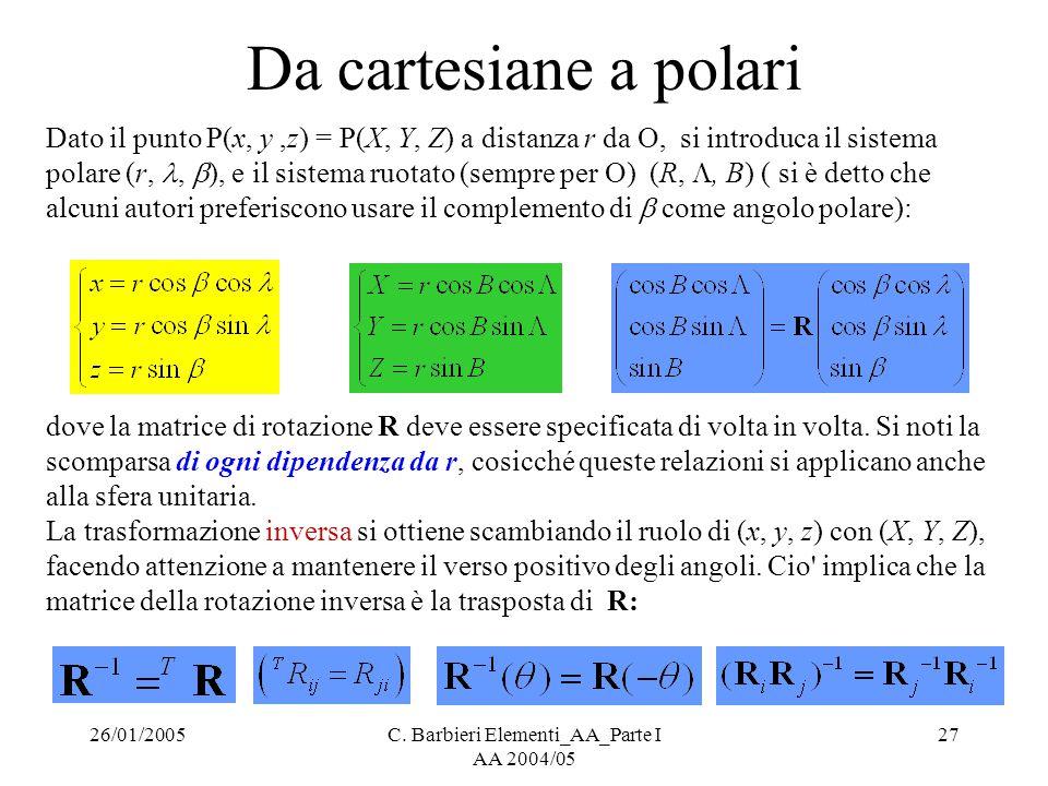 26/01/2005C. Barbieri Elementi_AA_Parte I AA 2004/05 27 Da cartesiane a polari Dato il punto P(x, y,z) = P(X, Y, Z) a distanza r da O, si introduca il