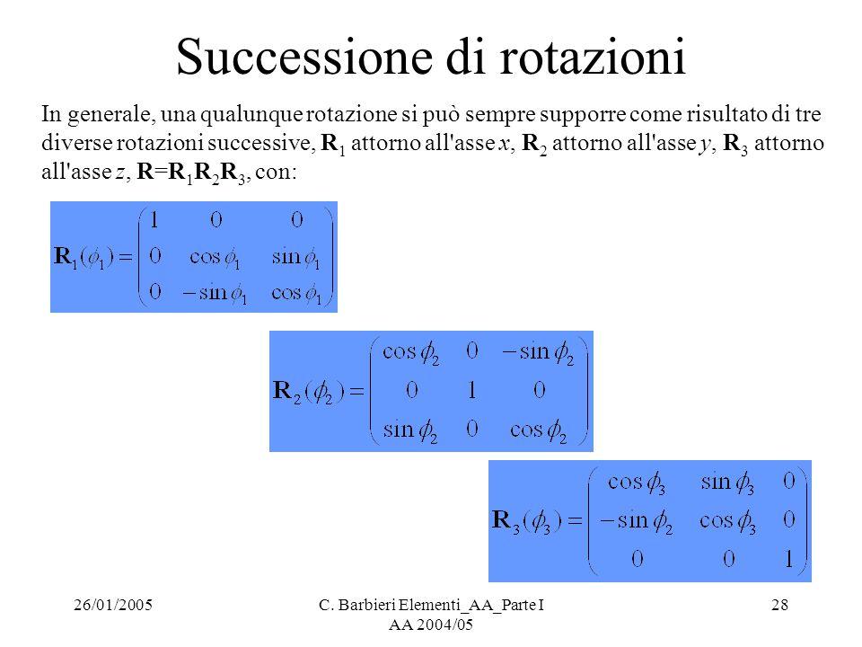 26/01/2005C. Barbieri Elementi_AA_Parte I AA 2004/05 28 Successione di rotazioni In generale, una qualunque rotazione si può sempre supporre come risu