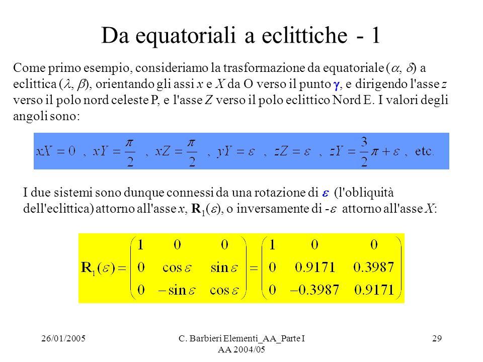 26/01/2005C. Barbieri Elementi_AA_Parte I AA 2004/05 29 Da equatoriali a eclittiche - 1 Come primo esempio, consideriamo la trasformazione da equatori