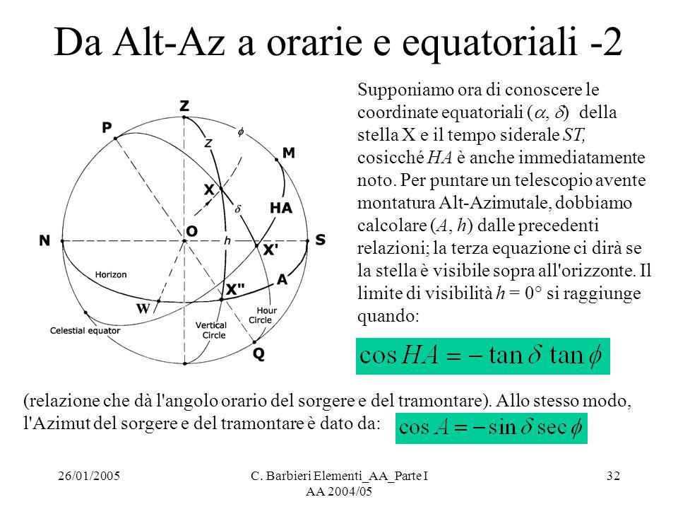26/01/2005C. Barbieri Elementi_AA_Parte I AA 2004/05 32 Da Alt-Az a orarie e equatoriali -2 Supponiamo ora di conoscere le coordinate equatoriali ( ,