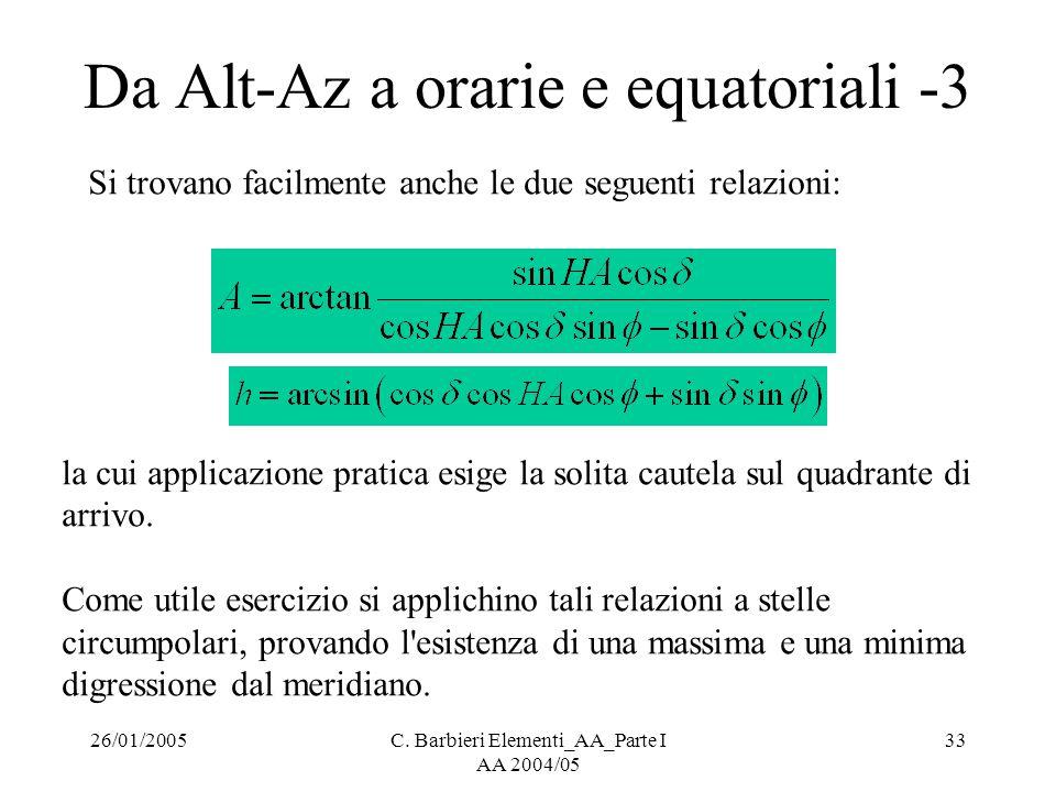 26/01/2005C. Barbieri Elementi_AA_Parte I AA 2004/05 33 Da Alt-Az a orarie e equatoriali -3 Si trovano facilmente anche le due seguenti relazioni: la
