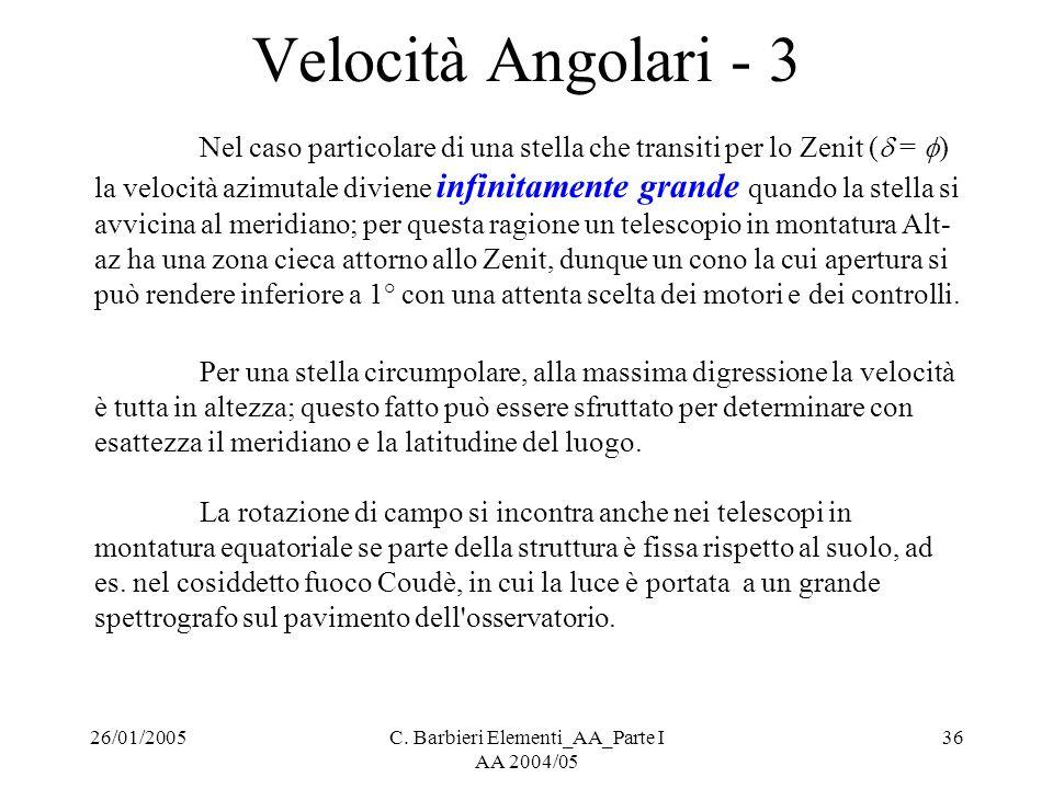 26/01/2005C. Barbieri Elementi_AA_Parte I AA 2004/05 36 Velocità Angolari - 3 Nel caso particolare di una stella che transiti per lo Zenit (  =  ) l