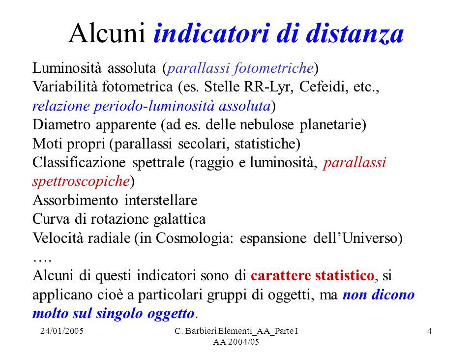 24/01/2005C. Barbieri Elementi_AA_Parte I AA 2004/05 4 Alcuni indicatori di distanza Luminosità assoluta (parallassi fotometriche) Variabilità fotomet
