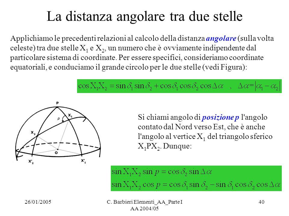 26/01/2005C. Barbieri Elementi_AA_Parte I AA 2004/05 40 La distanza angolare tra due stelle Applichiamo le precedenti relazioni al calcolo della dista