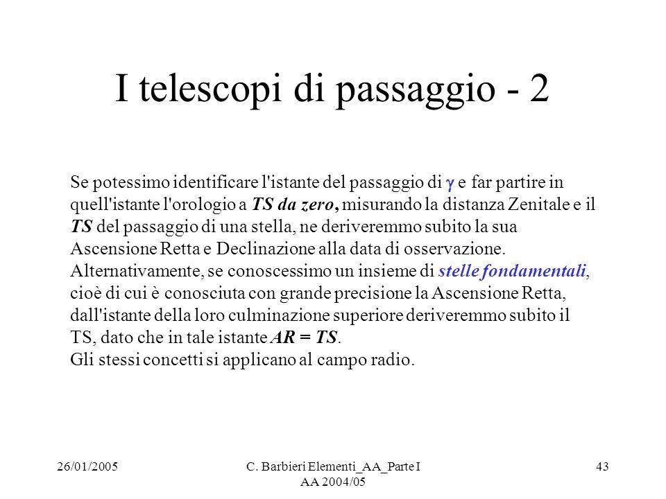 26/01/2005C. Barbieri Elementi_AA_Parte I AA 2004/05 43 I telescopi di passaggio - 2 Se potessimo identificare l'istante del passaggio di  e far part