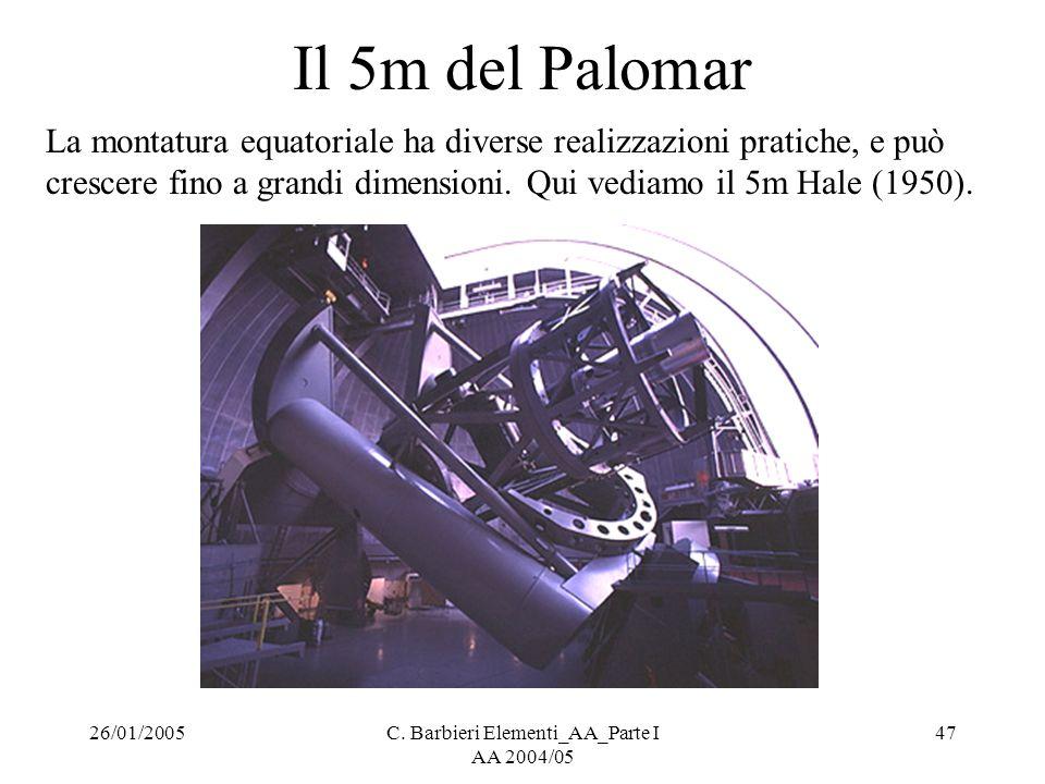 26/01/2005C. Barbieri Elementi_AA_Parte I AA 2004/05 47 Il 5m del Palomar La montatura equatoriale ha diverse realizzazioni pratiche, e può crescere f