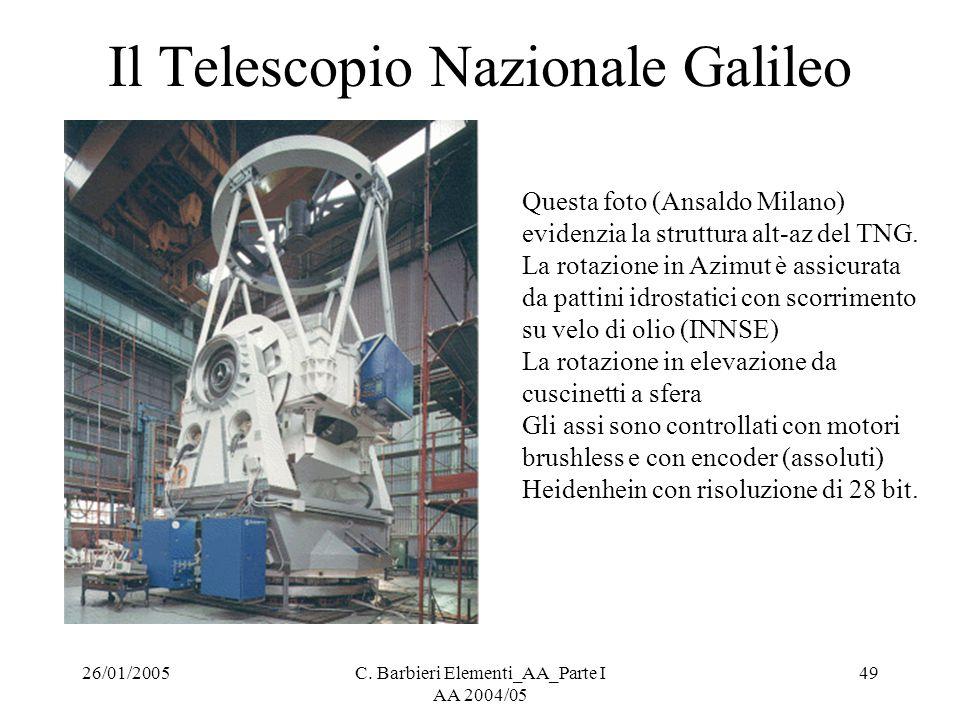 26/01/2005C. Barbieri Elementi_AA_Parte I AA 2004/05 49 Il Telescopio Nazionale Galileo Questa foto (Ansaldo Milano) evidenzia la struttura alt-az del