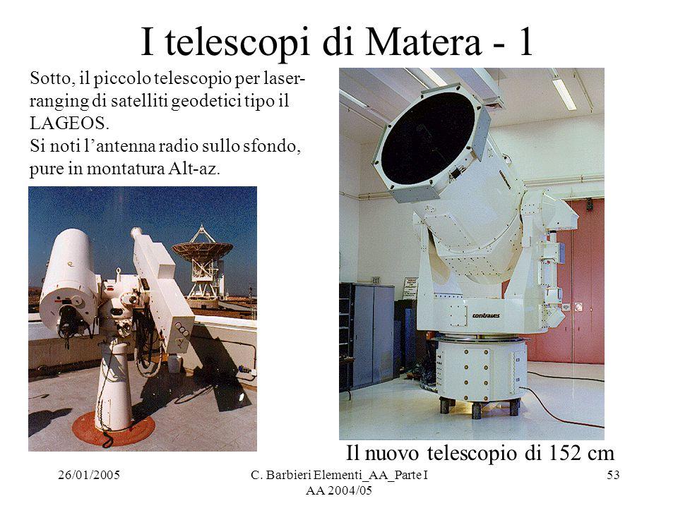 26/01/2005C. Barbieri Elementi_AA_Parte I AA 2004/05 53 I telescopi di Matera - 1 Sotto, il piccolo telescopio per laser- ranging di satelliti geodeti
