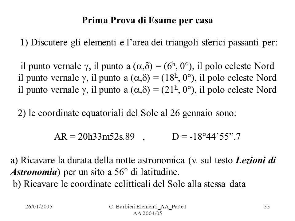 26/01/2005C. Barbieri Elementi_AA_Parte I AA 2004/05 55 Prima Prova di Esame per casa 1) Discutere gli elementi e l'area dei triangoli sferici passant