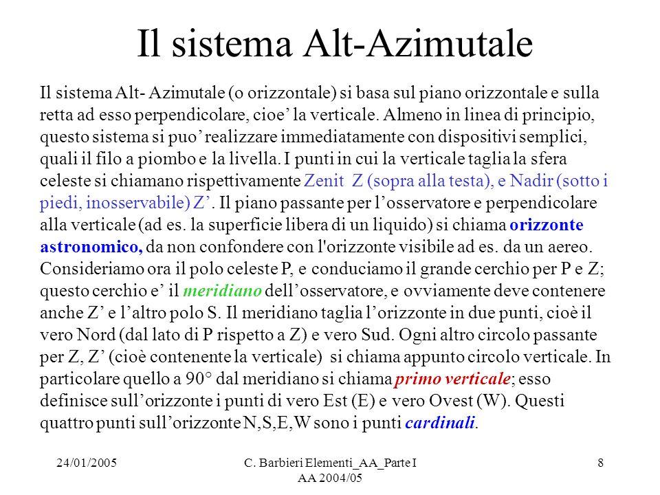 24/01/2005C. Barbieri Elementi_AA_Parte I AA 2004/05 8 Il sistema Alt-Azimutale Il sistema Alt- Azimutale (o orizzontale) si basa sul piano orizzontal