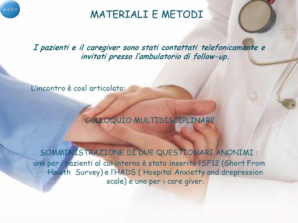 MATERIALI E METODI I pazienti e il caregiver sono stati contattati telefonicamente e invitati presso l'ambulatorio di follow-up.