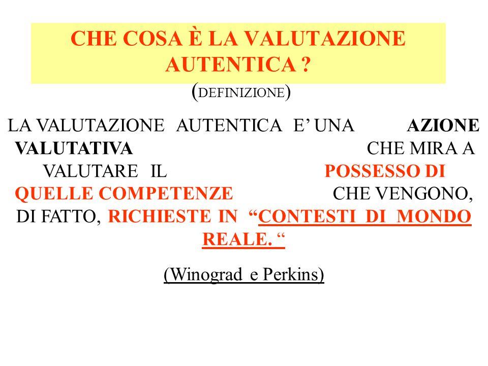 CONTESTI DI MONDO REALE Significa: 1.CONCRETE SITUAZIONI DI VITA.