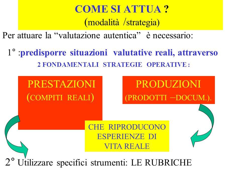 COME SI ATTUA ? ( modalità / strategia) 1° :predisporre situazioni valutative reali, attraverso 2 FONDAMENTALI STRATEGIE OPERATIVE : PRESTAZIONI ( COM