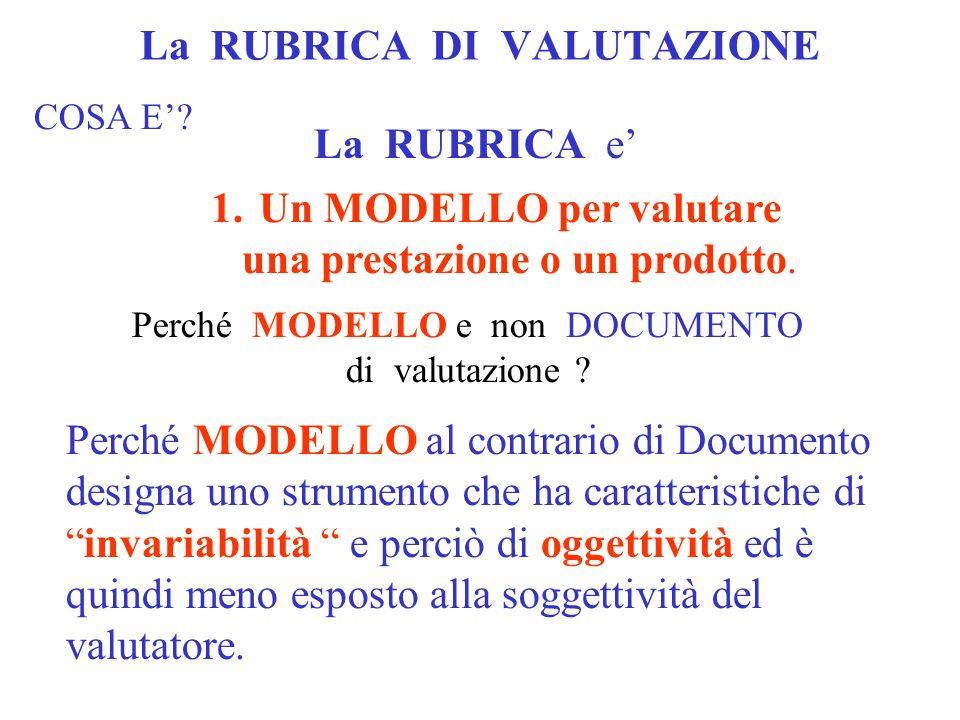 La RUBRICA DI VALUTAZIONE COSA E'? La RUBRICA e' 1.Un MODELLO per valutare una prestazione o un prodotto. Perché MODELLO e non DOCUMENTO di valutazion