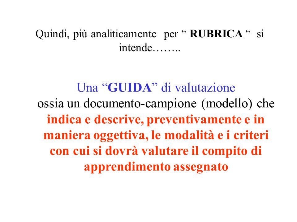 """Quindi, più analiticamente per """" RUBRICA """" si intende…….. Una """"GUIDA"""" di valutazione ossia un documento-campione (modello) che indica e descrive, prev"""