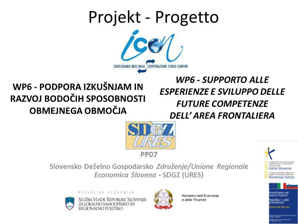 Projekt - Progetto PP07 Slovensko Deželno Gospodarsko Združenje/Unione Regionale Economica Slovena - SDGZ (URES) WP6 - SUPPORTO ALLE ESPERIENZE E SVILUPPO DELLE FUTURE COMPETENZE DELL' AREA FRONTALIERA WP6 - PODPORA IZKUŠNJAM IN RAZVOJ BODOČIH SPOSOBNOSTI OBMEJNEGA OBMOČJA Ministero dell Economia e delle Finanze