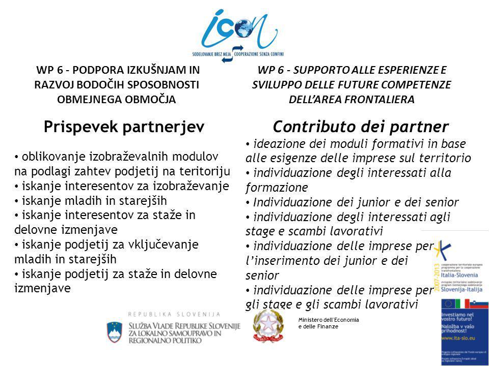 Prispevek partnerjev oblikovanje izobraževalnih modulov na podlagi zahtev podjetij na teritoriju iskanje interesentov za izobraževanje iskanje mladih in starejših iskanje interesentov za staže in delovne izmenjave iskanje podjetij za vključevanje mladih in starejših iskanje podjetij za staže in delovne izmenjave Contributo dei partner ideazione dei moduli formativi in base alle esigenze delle imprese sul territorio individuazione degli interessati alla formazione Individuazione dei junior e dei senior individuazione degli interessati agli stage e scambi lavorativi individuazione delle imprese per l'inserimento dei junior e dei senior individuazione delle imprese per gli stage e gli scambi lavorativi Ministero dell Economia e delle Finanze WP 6 - SUPPORTO ALLE ESPERIENZE E SVILUPPO DELLE FUTURE COMPETENZE DELL'AREA FRONTALIERA WP 6 - PODPORA IZKUŠNJAM IN RAZVOJ BODOČIH SPOSOBNOSTI OBMEJNEGA OBMOČJA