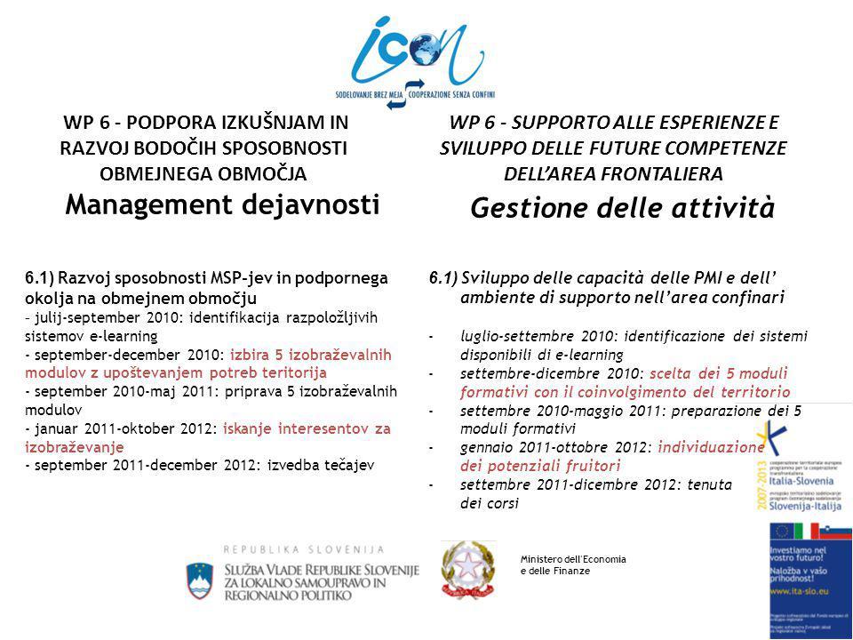 Management dejavnosti 6.1) Razvoj sposobnosti MSP-jev in podpornega okolja na obmejnem območju - julij-september 2010: identifikacija razpoložljivih sistemov e-learning - september-december 2010: izbira 5 izobraževalnih modulov z upoštevanjem potreb teritorija - september 2010-maj 2011: priprava 5 izobraževalnih modulov - januar 2011-oktober 2012: iskanje interesentov za izobraževanje - september 2011-december 2012: izvedba tečajev Gestione delle attività 6.1) Sviluppo delle capacità delle PMI e dell' ambiente di supporto nell'area confinari -luglio-settembre 2010: identificazione dei sistemi disponibili di e-learning -settembre-dicembre 2010: scelta dei 5 moduli formativi con il coinvolgimento del territorio -settembre 2010-maggio 2011: preparazione dei 5 moduli formativi -gennaio 2011-ottobre 2012: individuazione dei potenziali fruitori -settembre 2011-dicembre 2012: tenuta dei corsi Ministero dell Economia e delle Finanze WP 6 - SUPPORTO ALLE ESPERIENZE E SVILUPPO DELLE FUTURE COMPETENZE DELL'AREA FRONTALIERA WP 6 - PODPORA IZKUŠNJAM IN RAZVOJ BODOČIH SPOSOBNOSTI OBMEJNEGA OBMOČJA